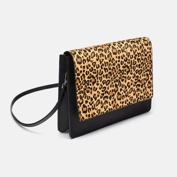 f85ffd78 Zara Leopard Print Contrast Crossbody Shoulder Bag NWT